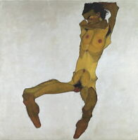 Egon Schiele Seated Male Nude Self-Portrait Giclee Canvas Print Paintings poster