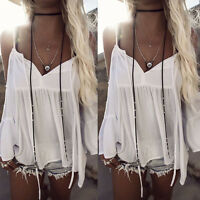 US Stock Fashion Womens Ladies V-Neck Off-shoulder Casual Blouses Tops T-Shirts