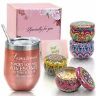 Christmas Gifts for Women Mom Insulated Tumbler and Candles 4 Pack Gift Set Box