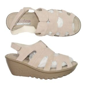 Skechers Parallel Stylin Suede Peep-Toe Slingback Wedge Sandals Women's Size 7