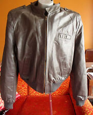 Xl Fit Brooklyn Hipster Gray Leather True Vtg 70s Zip Motorcycle Cafe Jacket