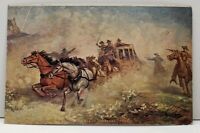 Holdup of Overland Coach Western Cowboys Vintage Postcard F15