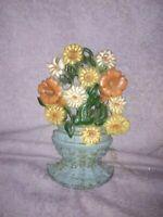 Cast Iron Basket of Flowers Door Stop Vintage Excellent no# 521570
