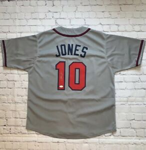 Chipper Jones Autographed Pro Style Baseball Jersey Grey (JSA)