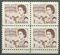 CANADA #454pii MINT BLOCK OF 4 VF NH