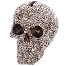 Spardose 12 cm Gruselig Beschmückt Totenkopf Gothic Skull Schädel Larp Silber