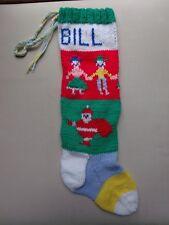 1993 Ugly Christmas Stocking Hand Knit Personalized Bill Girl Boy Santa Vintage