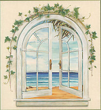 Seaside Accent Window Wallpaper Mural with Ivy  31446160