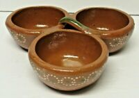 Tlaquepaque Mexican Pottery TerraCotta 3 Section Red Clay Serving Dish