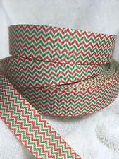 Chevron Christmas 25mm  Grosgrain Ribbon 3 Meter Length Hairbows Craft Scrapbook