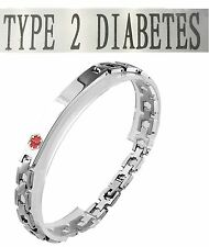 Type 2 Diabetes Medical Alert 316L Stainless Steel Link Unisex Bracelet, 8