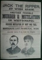 BOOKLET POSTER  ON JACK THE RIPPER AT WORK AGAIN IN NEWS AND VERSE, HISTORY GIFT