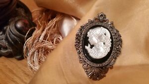 CAMEO BROOCH VICTORIAN MAIDEN STERLING SILVER MOTHER OF PEARL & BLACK ONYX PIN