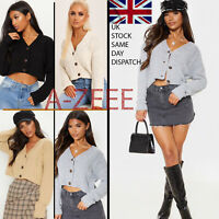 Womens Ladies Chunky Cable Knitted Cardigan 3 Button Long Sleeves Crop Top Short