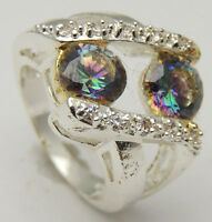 Vintage Sz7.75 Cutout Ring w/Round Rainbow Topaz & White CZs 925 Sterling Silver