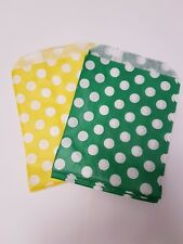 20 Green and Yellow Spotty Sweet Bags, Baby Shower, Gift Bags, Favours
