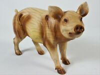 Pig Faux Wood Carving Figure Statue Farm Animal Art Hog Boar Piglet Resin New