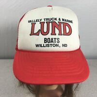 Vintage Lund Boats Nissin Truckers Farmers Cap Hat Foam Front Snap Back Mesh