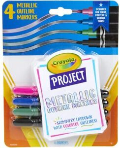 Crayola Project Metallic Outline Markers Pkg of 4 Assorted Colors, Art NEW