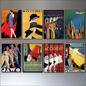 Fridge Magnets Art Deco Vintage Posters set of 8 retro reproduction vintage