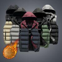 Mens Quilted Gilet Vest Winter Body Warmer Sleeveless Hooded Padded Jacket Coat