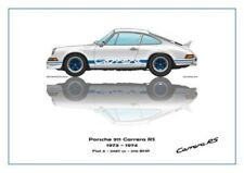 Print on Canvas Porsche 911 Carrera RS 1973 White /  Blue, White 180 x 120