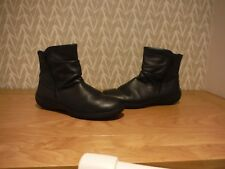 Hotter Black Leather Fleece Lined Flat Ankle Boots Sz 8 uk / 41 eur