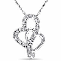 Amour 10k White Gold Diamond Accent Double Heart Necklace