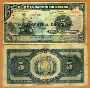 Bolivia, 5 bolivanos, 1929, P-113, G > Hand Signed