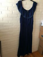 New City Chic Woman's Lace Embellished Off The Shoulder Maxi Dress 24W Blue  X22