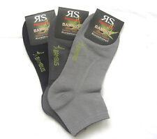 3 Pair Men's Bamboo Trainers short Sock Socks Soft Rim 3 Grey Tones 39 To 46