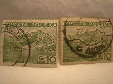 Poland Stamp 1935 Scott 295 A65 Green 10 Gr Set of 2