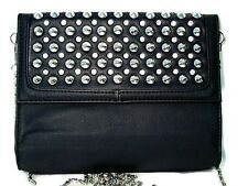 Silver Metal Spiked Studded Black Faux Leather Purse with Crystal Accents