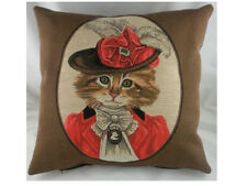 "18"" FASHIONABLE CAT ORANGE Belgian Woven Tapestry Cushion Cats (45cm) Red"