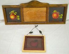 Lot of 2 Hammered Pressed Punched Tin and Painted Wall Hangings Framed In Wood