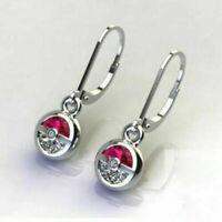 Gorgeous Pokemon White Sapphire Ruby 925 Silver Dangle Earrings Wedding Jewelry