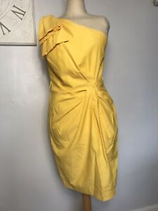 Ladies Yellow One Shoulder Twist Front Sun Dress UK 12