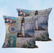 US Seller-set of 2 pillow cove lighthouse seagull seaside nautical cushion cover