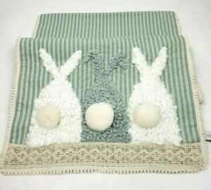 Rachel Ashwell Table Runner Easter Bunny Rabbits Shabby Chic Lace Farmhouse