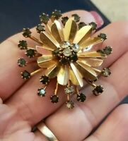 "Vintage Brass / Gold Tone Flower Black & Clear Rhinestone Metal Brooch Pin 1.75"""