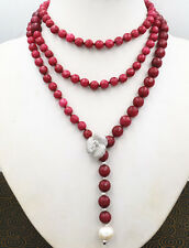 Elegant 6-10mm faceted Africa Ruby 10-11mm pearl Hand knitting necklace 60""