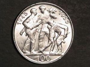CZECHOSLOVAKIA 1955 100 Korun Liberation Silver Crown UNC