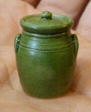 IGMA Artisan Jane Graber Miniature Stoneware Green-Glazed Canister: 1:12 Scale