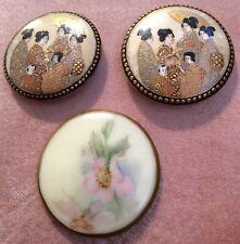 Gorgeous Antique Gold Gilt Satsuma Buttons (3)