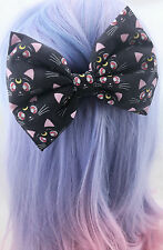 Sailor Moon Black Luna Cat Large Fabric Hair Bow -- Kawaii Hair Clip