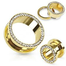 Pair-Gold Plate w/Clear Gems Screw On Ear Tunnels 05mm/4 Gauge Body Jewelry
