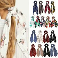 Floral Print Ponytail Scarf Bow Tie Elastic Hair Rope Scrunchies Ribbon Hairband