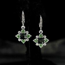 Earring Fashion Hook Silver Green Emerald Crystal Flower Clover Drop Wedding YW7