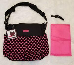Love Is... Diaper Bag Shoulder Tote 10 Pockets, Changing Pad, Black/Pink Hearts