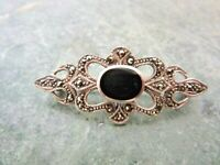 VINTAGE STERLING SILVER 925 MARCASITE BLACK ONYX STONE PIN BROOCH  1 1/2""